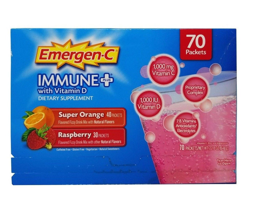 Emergen-C Immune+ with Vitamin D Super Orange & Raspberry Net 22.8OZ 70 Packets