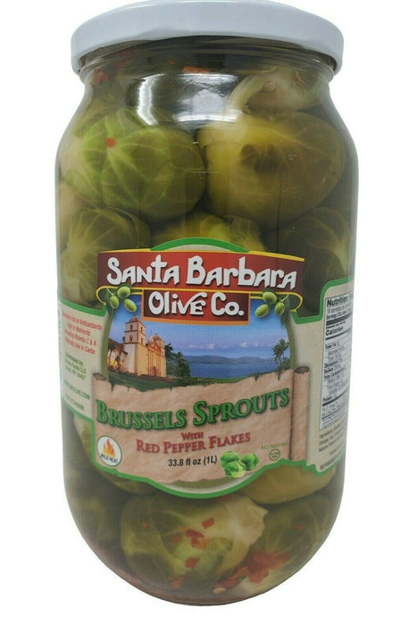 Santa Barbara Olive Co. Brussels Sprouts with Red Pepper Flakes 33.8 FL OZ