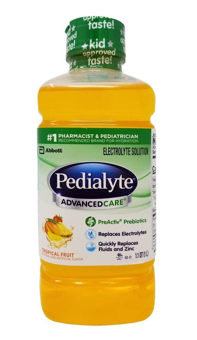 Pedialyte Advanced Care Electrolyte Solution Tropical Fruit Flavor 1.1 QT (1 L)