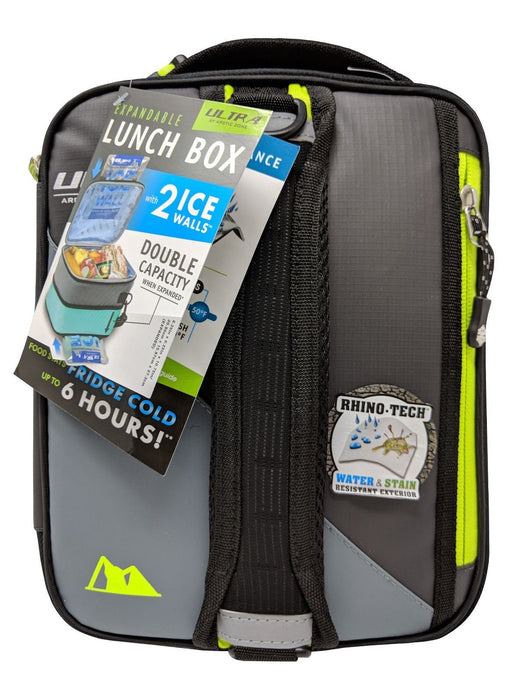 Ultra by Arctic Zone Expandable Lunch Box with 2 Ice Walls/Containers-Dark Gray