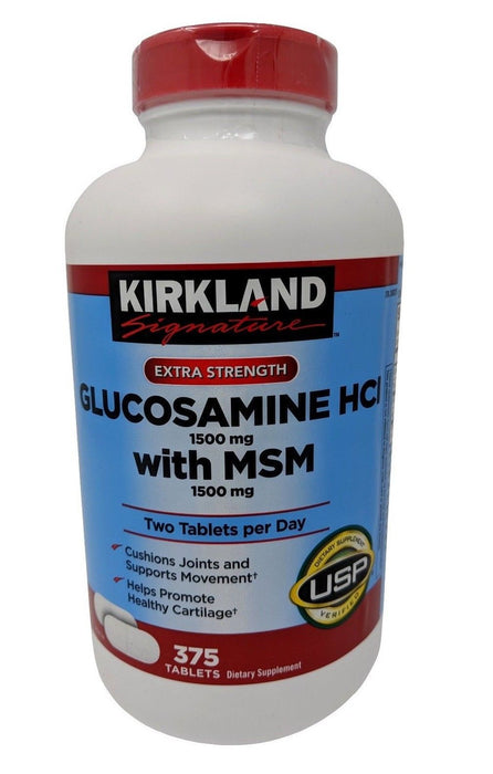 Kirkland Signature Extra Strength Glucosamine HCI 1.5g with MSM 1.5g 375 Tablets
