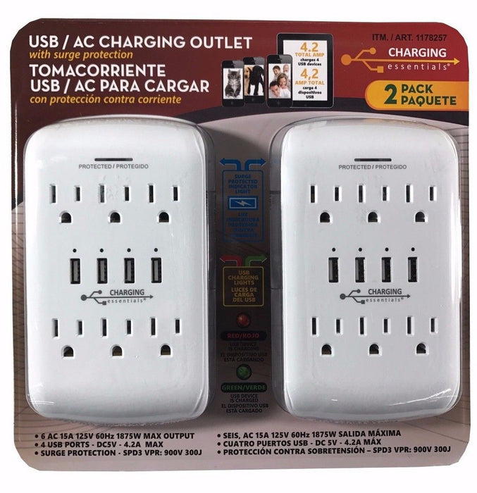 Charging Essentials USB/AC Charging Outlet with Surge Protection 2 Pack