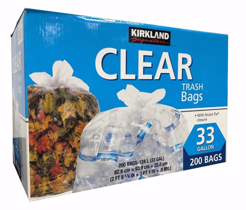 Kirkland Signature Clear 33 Gallon Trash Bags with Smart Tie Closure 200 Bags