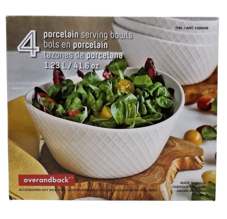 Overandback Porcelain Serving Bowls 1.23 L / 41.6 OZ - 4 Pack