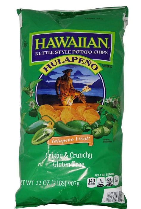 Hawaiian Kettle Style Potato Chips Hulapeno Crispy & Crunchy Jalapeno Fired 2 LB