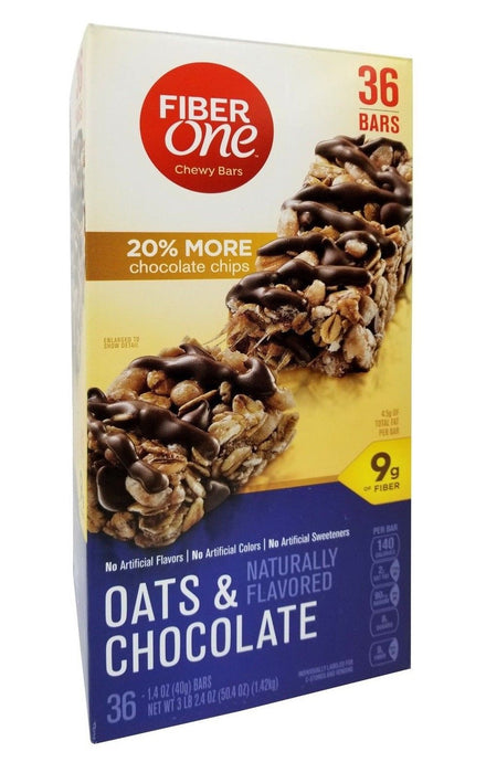 Fiber One Oats & Chocolate Naturally Flavored 36 Chewy Bars 3 LB 2.4 OZ