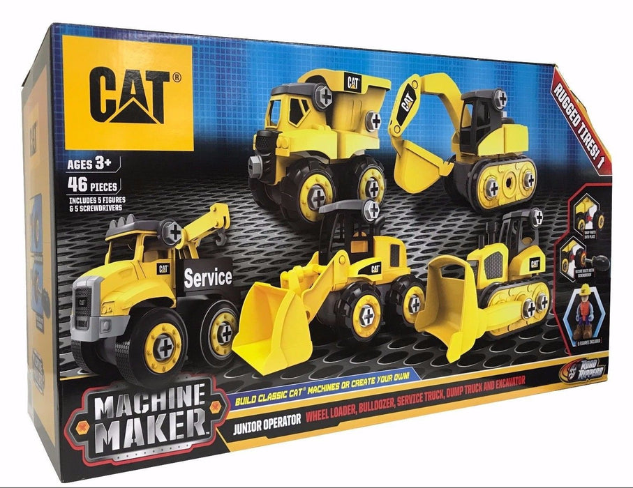 CAT Machine Maker 46 Pieces Include 5 Figures & 5 Screwdrivers with Rugged Tires
