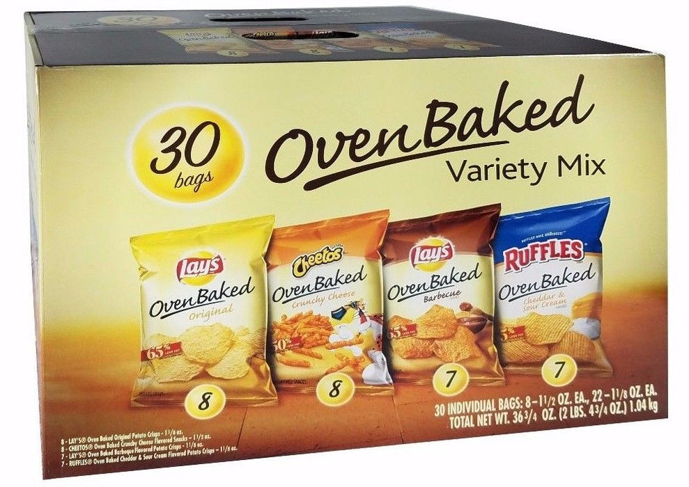Lays Oven Baked Variety Mix 36.75 oz Pack - 30 Bags