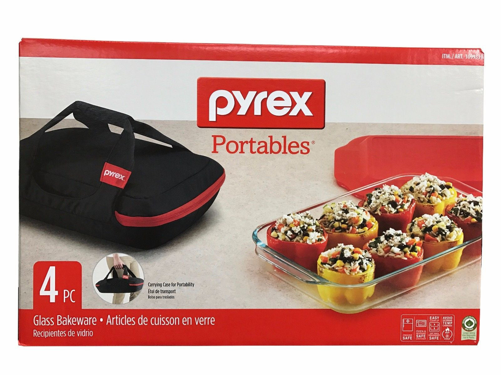 Pyrex Portables 4 PC Glass Bakeware Set with Insulated Carrier + Cold/Hot Pack