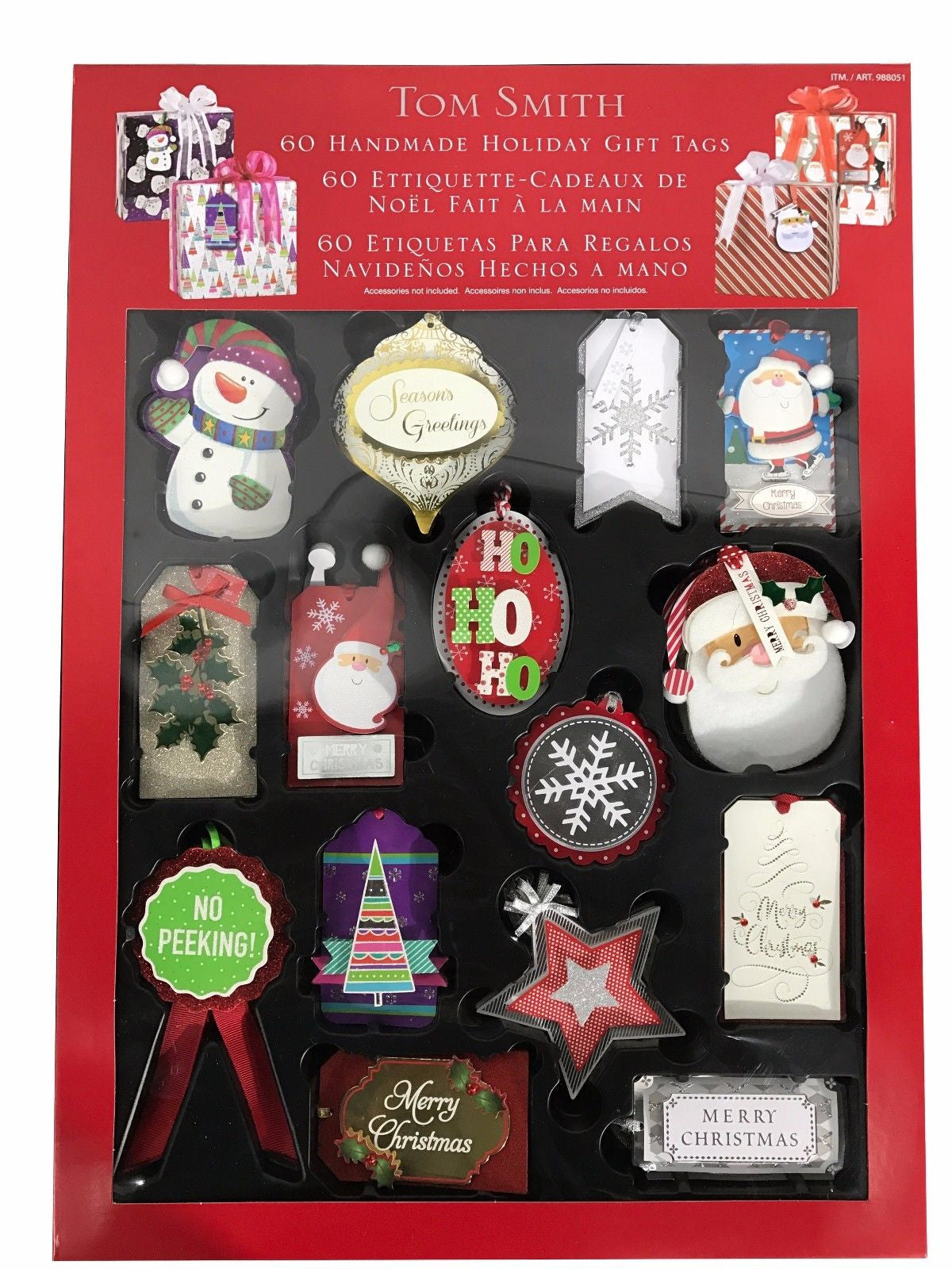 Tom Smith Handmade Christmas & Holiday Gift Tags for Decorations 60 Pack
