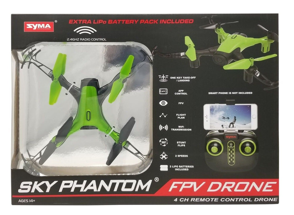Syma Sky Phantom FPV Drone D1650WH 2 Speeds, App, 4 CH Remote Control - Green