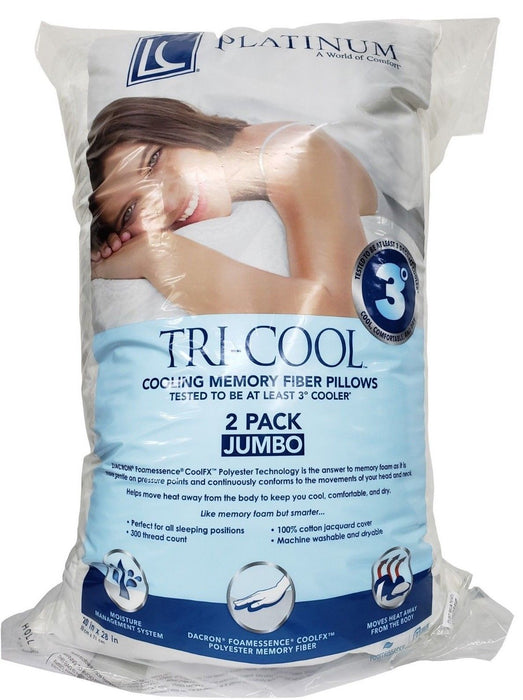 "LC Platinum Tri-Cool Cooling Memory Fiber Pillows Jumbo 20 x 28"" - 2 Pack"