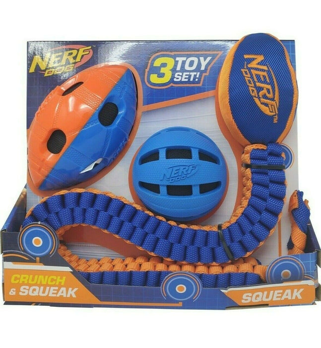 Nerf Dog Crunch & Squeak Ball, FootBall & Tuff Tug - 3 Toy Set