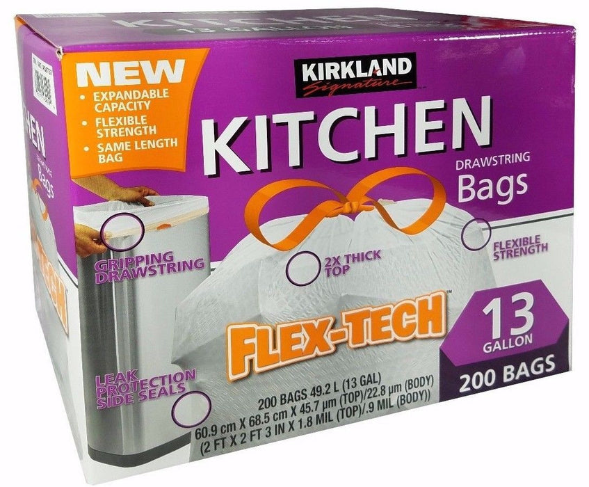 Kirkland Signature Kitchen Drawstring Bag Flex-Tech No-Leak 13 Gallon 200 Bags