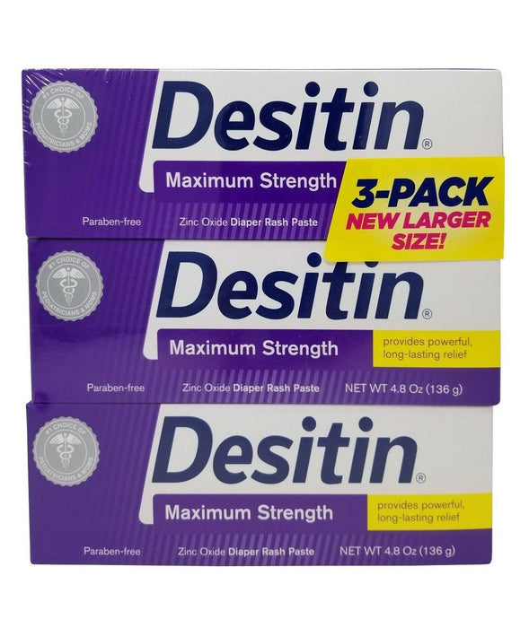 Desitin Maximum Strength Zinc Oxide Diaper Rash Paste 4.8 OZ Each 3 Pack