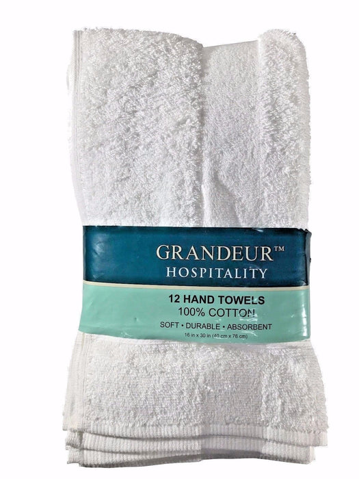 "Grandeur Hospitality 12 Hand Towels 100% cotton 16"" x 30"" Soft Durable Absorbent"