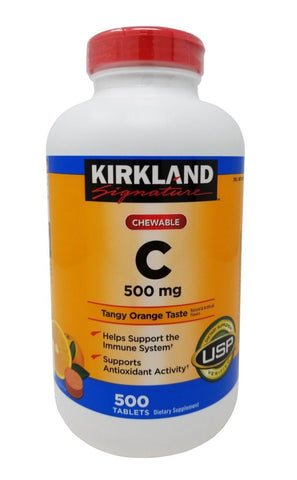 Kirkland Signature Chewable Vitamin C 500mg Tangy Orange Taste 500 Tablets