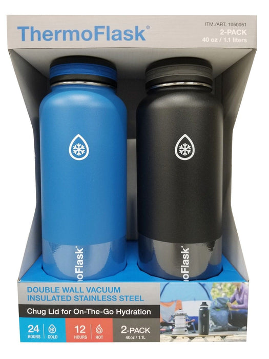 Takeya ThermoFlask 40oz Double Wall Vacuum Insulated 2 Pack - Azure Blue & Black