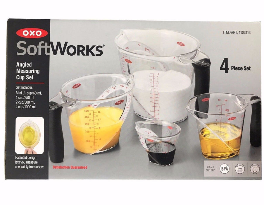 Oxo SoftWorks Angled Measuring Cups 60,250,500,1000ml 4-Piece Cup Set