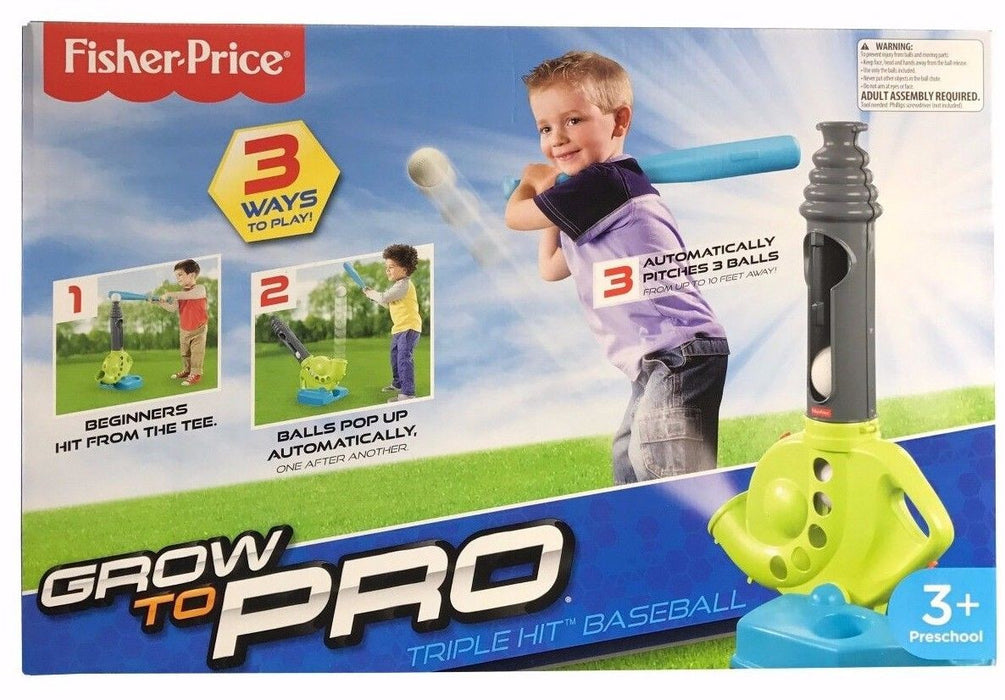 Fisher Price Grow To Pro Triple Hit Baseball Pitches 3 Balls Up To 10 Feet Away