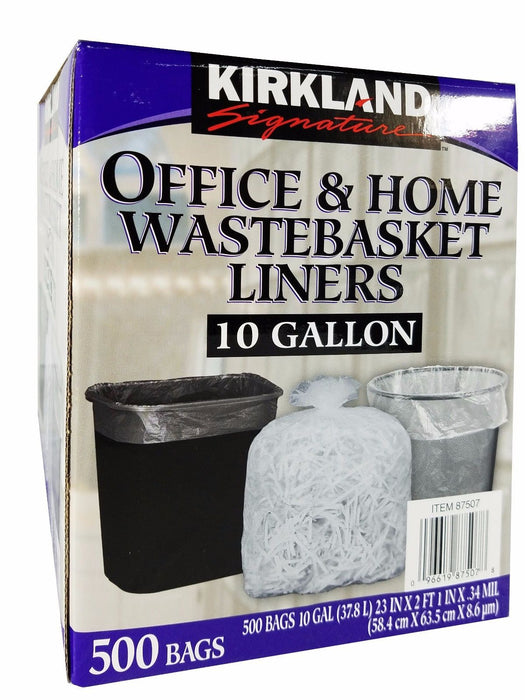 Kirkland Signature 10 Gallon Office & Home Wastebasket Liners - 500 Trash Bags