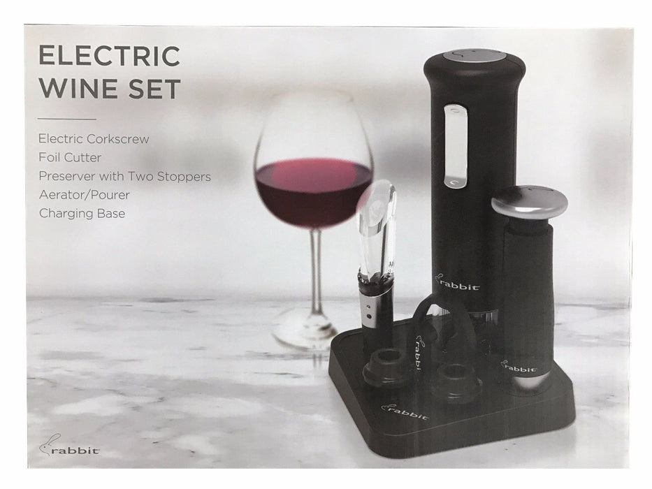 Rabbit Electric Wine Set - Corkscrew Foil Cutter Preserver Aerator Charger