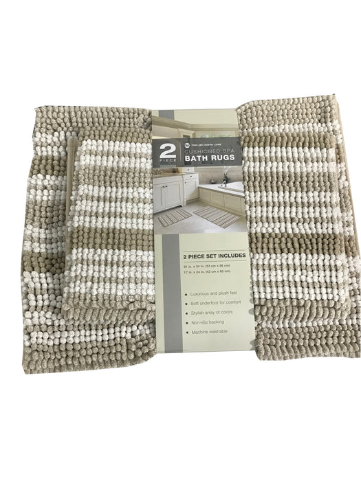 Town & Country Living 2 Piece Cushioned Spa Bath Rugs Set 21*34 and 17*24 in. [Brown]