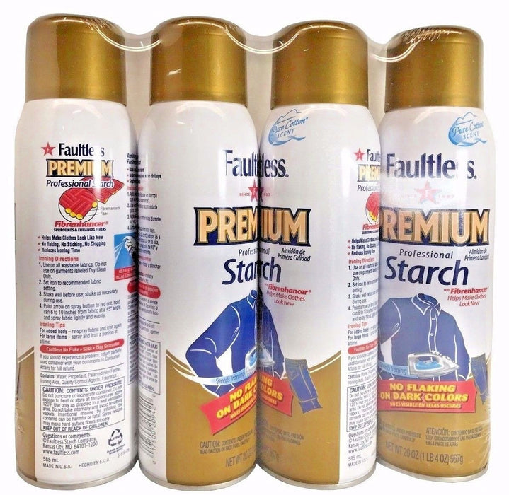 Faultless Premium Professional Starch with Fibrenhancer 20 OZ Cans 4 pack