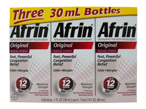 Afrin Original Nasal Spray Colds/Allergies Congestion Relief 3 Pk Net 3 FL OZ