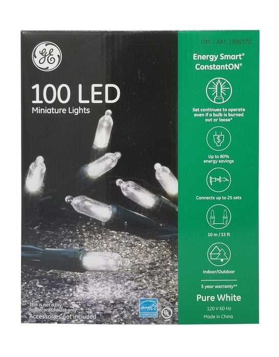 GE 100 LED Miniature Lights, Energy Smart, ConstantON, Pure White