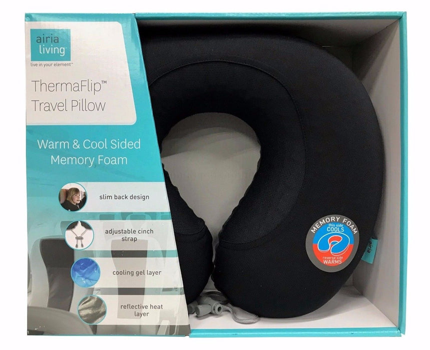 Airia Living Thermaflip Travel Pillow Warm & Cool Sided Memory Foam - Black