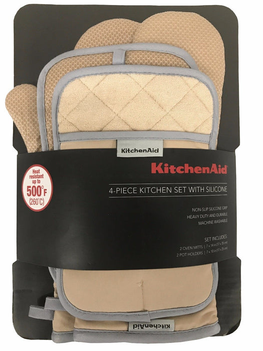 KitchenAid 4 Piece Kitchen Set with Silicone 2 Oven Mitts, 2 Pot Holders - Brown