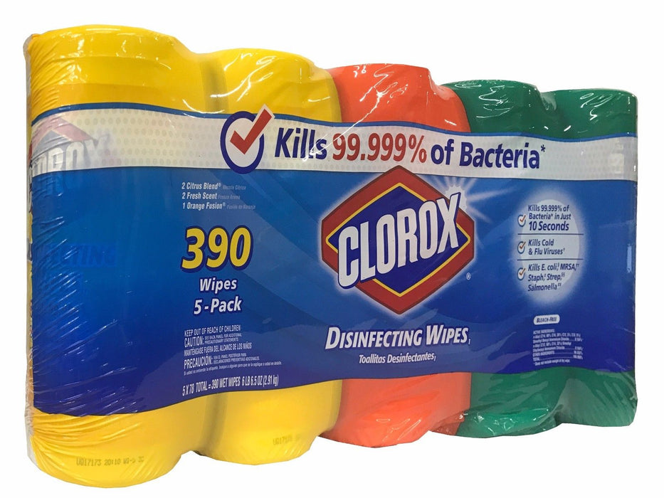 Clorox Disinfecting Wipes 5 Pack Citrus, Fresh, Orange Scents - 390 Wet Wipes