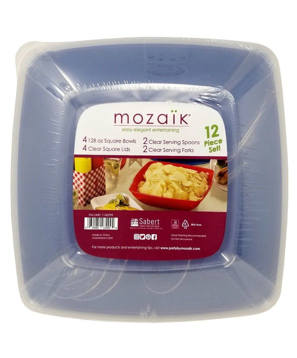 Mozaik Elegant Entertaining Square Bowls, Lids, Spoons, Forks 12 Pc Set - Blue
