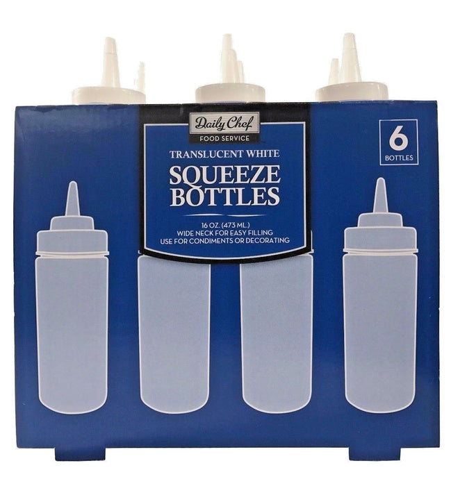 Daily Chef Food Service 16 oz Translucent White Squeeze Bottles 6 Pack