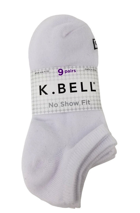 K.Bell Soft Cotton Blend Socks 9 Pairs No Show Fit - White