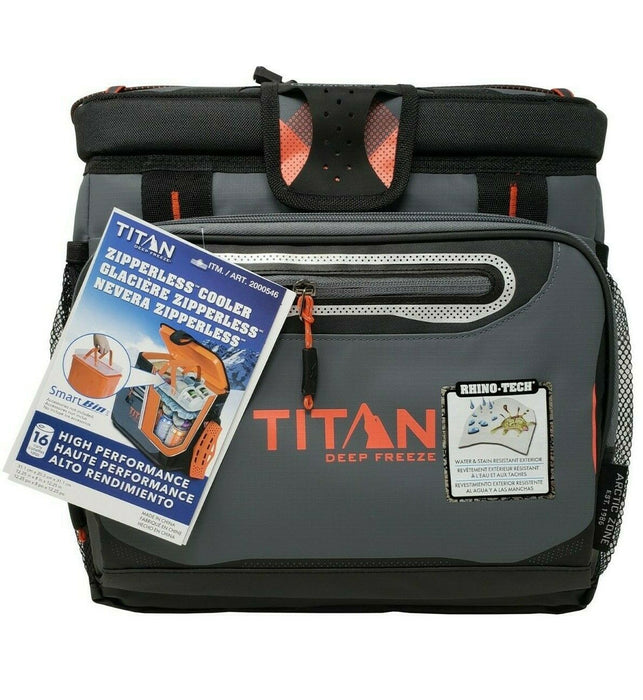Titan Deep Freeze Zipperless Cooler Bag High Performance with Smart Bin - Orange