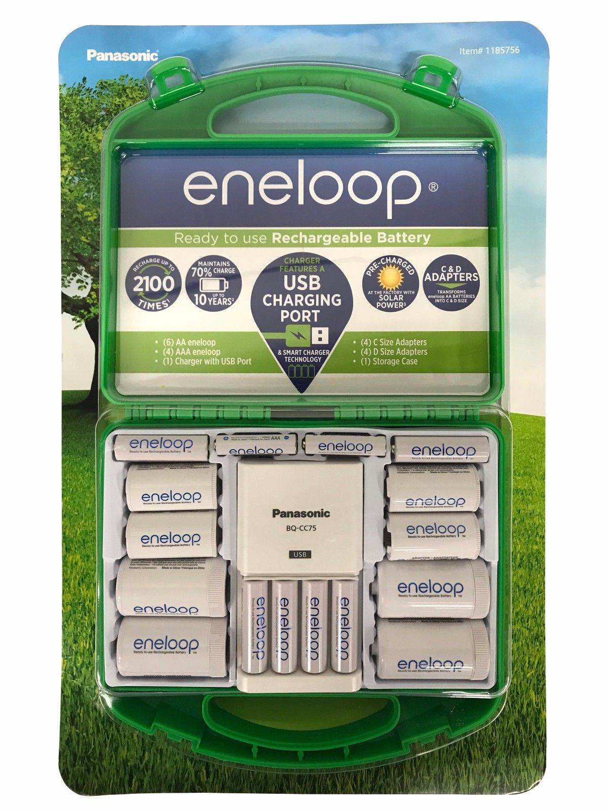 Panasonic Eneloop Ready to Use Rechargeable Batteries, AA/AAA with C/D Adapters