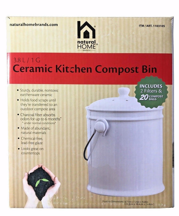 Natural Home Brands Ceramic Kitchen Compost Bin 1 Gal with 2 Filters & 20 Bags