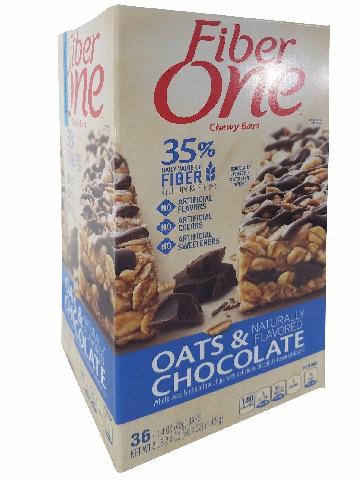 Fiber One Oats & Chocolate Chewy Bars 3LB 2.4OZ Naturally Flavored 36 Bars
