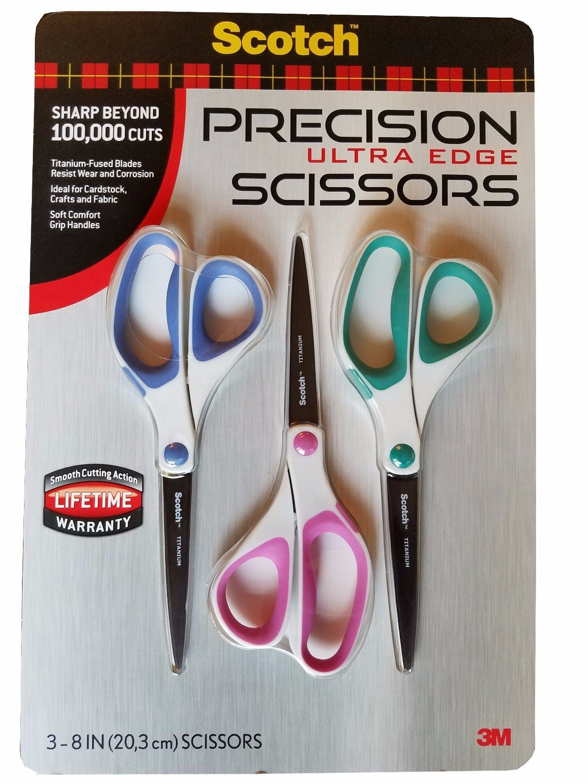 Scotch 3M Precision Ultra Edge 8 inch Titanium Edge Scissors 3 Pack
