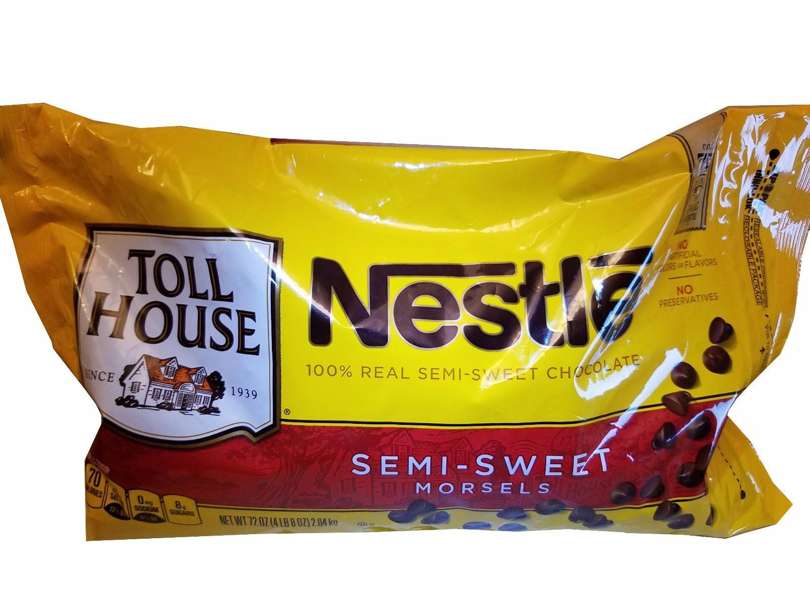 Nestle Toll House 100% Real Semi-Sweet Chocolate Morsels 4.5 LB (72 oz)