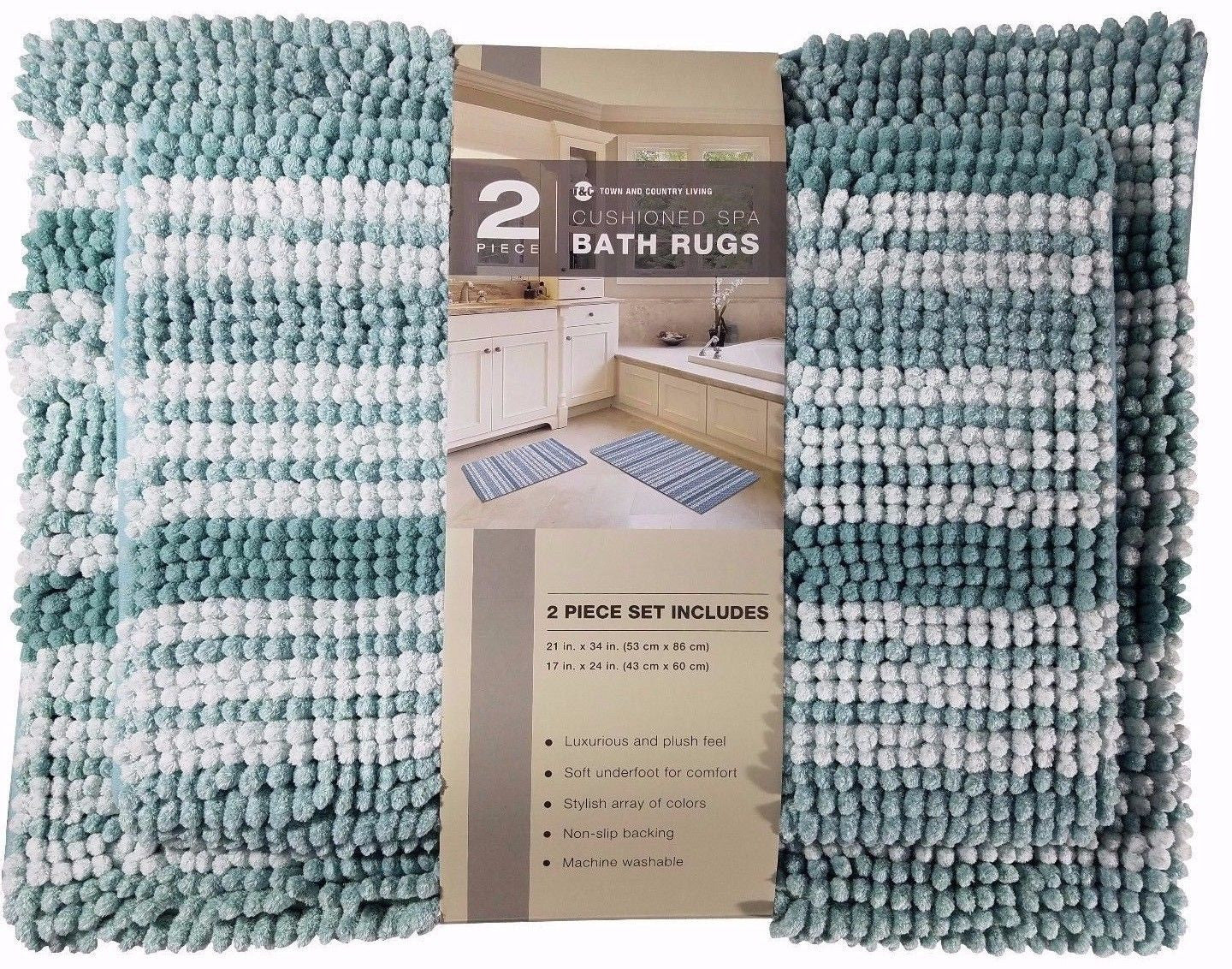Town & Country Living Cushioned Spa Bath Rugs Plush 2 Piece Set - Green