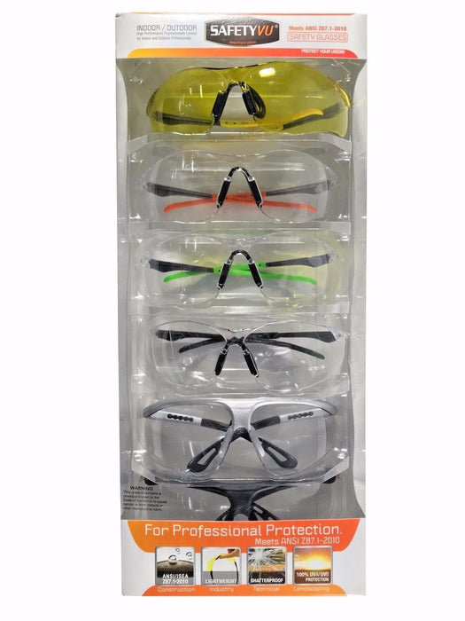 SafetyVU Indoor/Outdoor Safety Glasses High Performance Polycarbonate Lenses 6pk