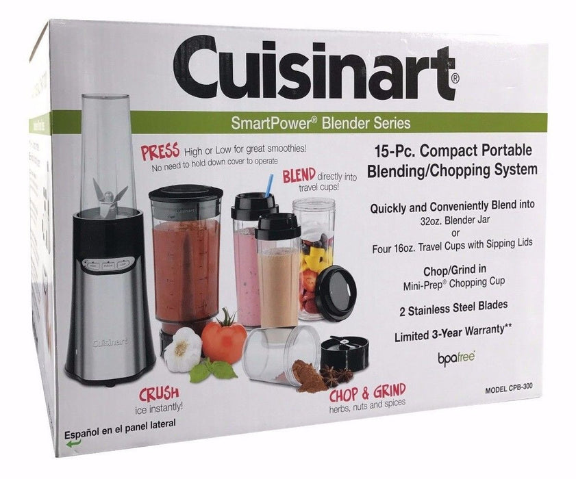 Cuisinart Smart Power 15 Pc Compact Portable Blending / Chopping System CPB-300