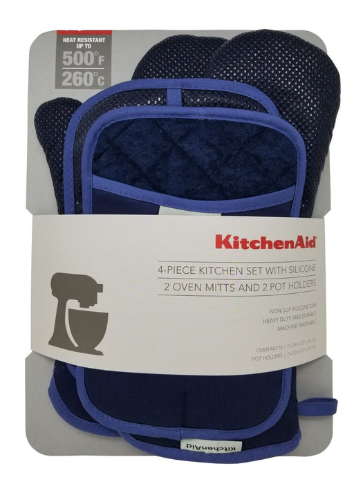 KitchenAid 4 Piece Kitchen Set with Silicone 2 Oven Mitts & 2 Pot Holders - Blue