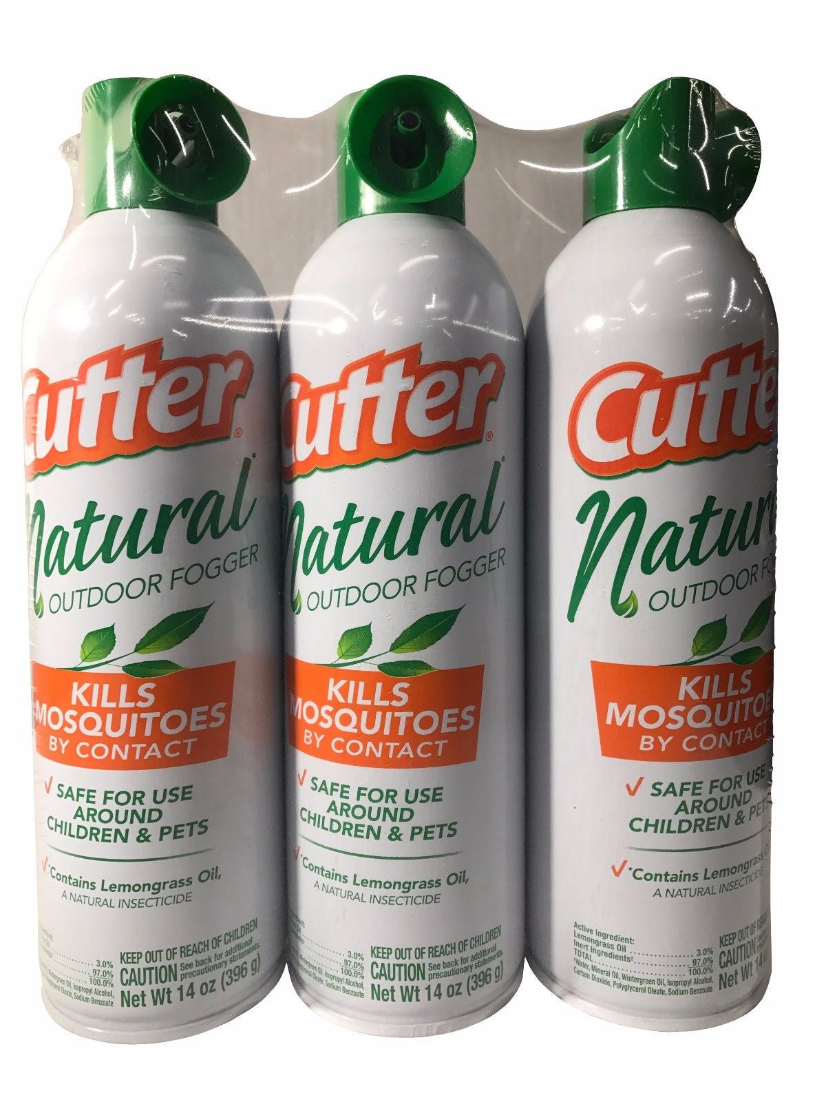 Cutter Natural Outdoor Fogger Mosquitos Insects Spray 14 OZ Each 3 Pack