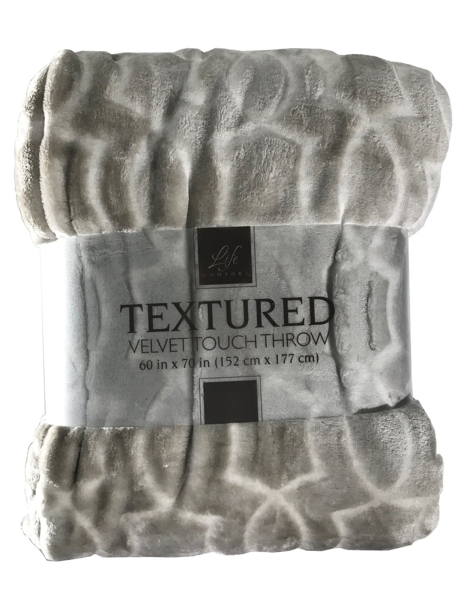 Life Comfort Textured Velvet Touch Throw (60 in x 70 in)  [Light Brown]