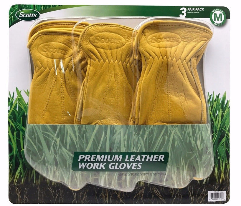 Scotts Premium Leather Work Gloves 100% Cowhide 3 Pair Pack - Medium