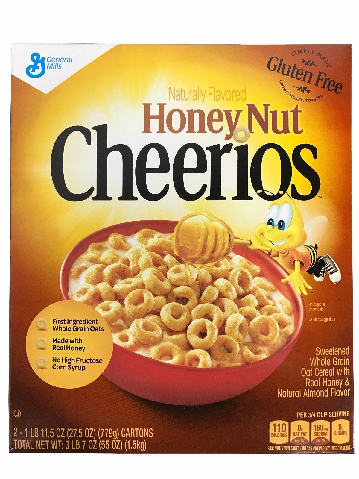 Honey Nut Cheerios Naturally Flavored Whole Grain 3 LB 7 OZ